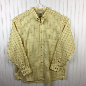 L.L. Bean Casual Button Front Shirt Yellow XL